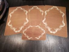 ROMANY GYPSY WASHABLES NON SLIP SET OF 4 MATS BROWN/CREAM GOOD THICK WASHERS